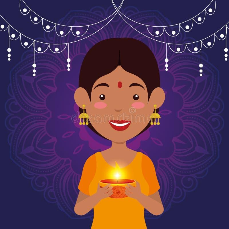 Hinduisk kvinna med att hänga för stearinljus och för ljus royaltyfri illustrationer