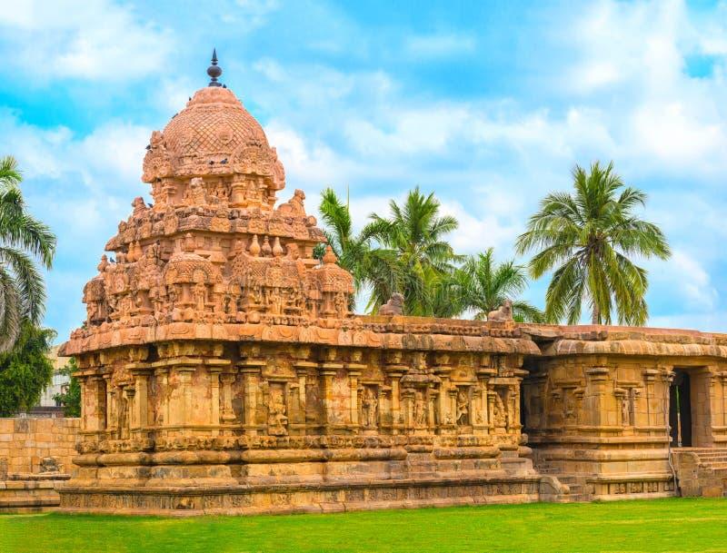 Hinduisk tempel som är hängiven till Shiva, forntida Gangaikonda Cholapuram royaltyfri fotografi