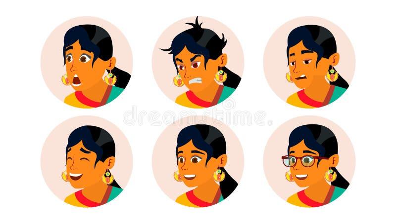 Hinduisk vektor för Avatar för affärskvinna Kvinnaframsida, sinnesrörelseuppsättning Indisk kvinnlig idérik Placeholder modern fl royaltyfri illustrationer