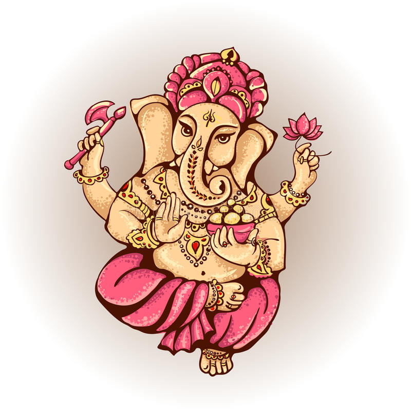 Hinduiska Lord Ganesha stock illustrationer