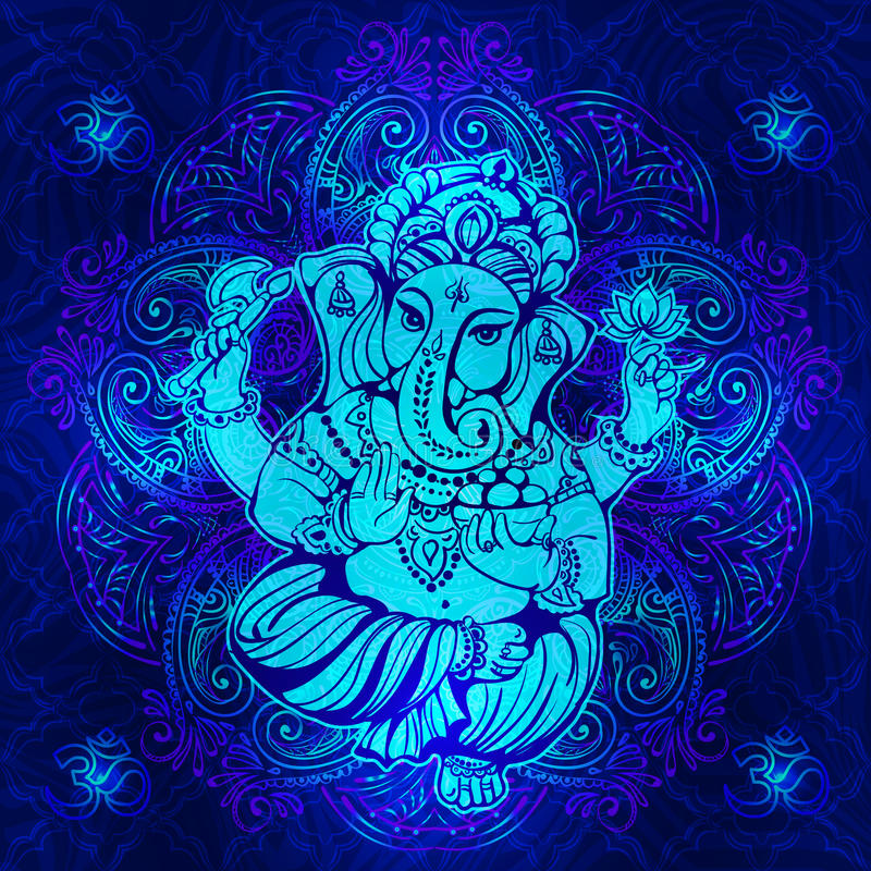 Hinduiska Lord Ganesha vektor illustrationer