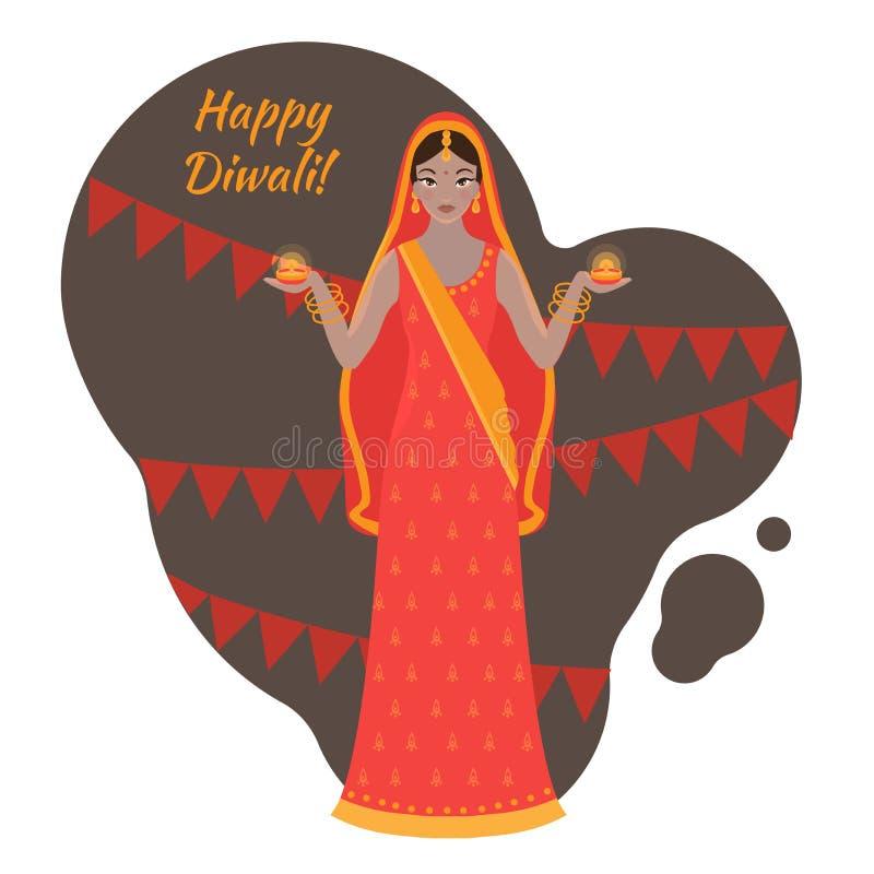 Hinduiskt feriehälsningkort Ljus festival av Indien lyckliga Diwali Kvinna som bär den traditionella torkdukesari stock illustrationer