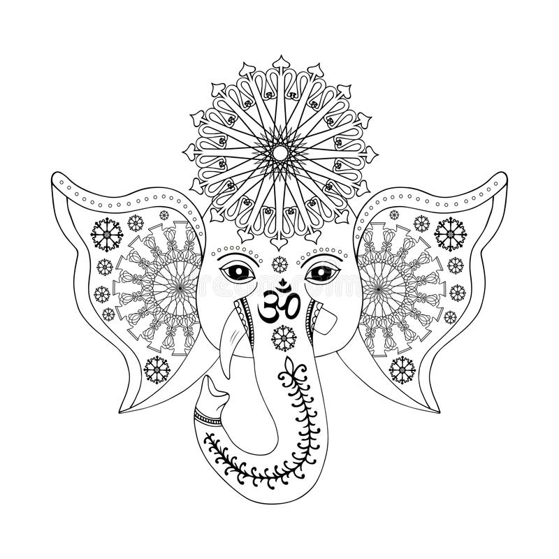 Hinduiskt gudGanesha huvud vektor illustrationer