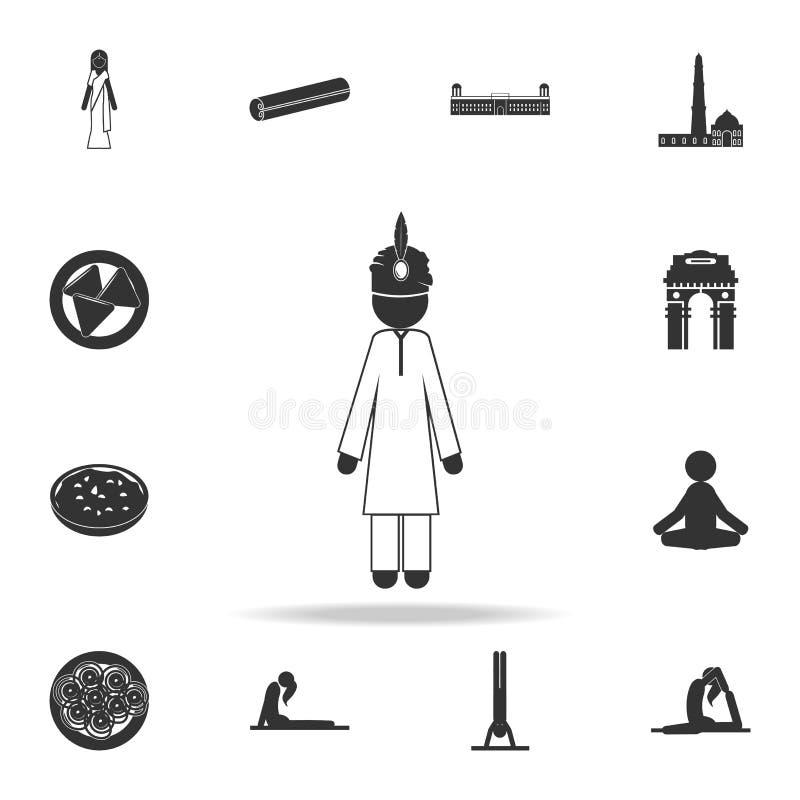 Hinduiskt i nationell klänningsymbol Detaljerad uppsättning av indiska kultursymboler Högvärdig kvalitets- grafisk design En av s vektor illustrationer