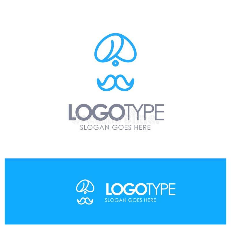 Hinduiskt Indien, indier, man, folk, person, blå översikt Logo Place för turban för Tagline stock illustrationer