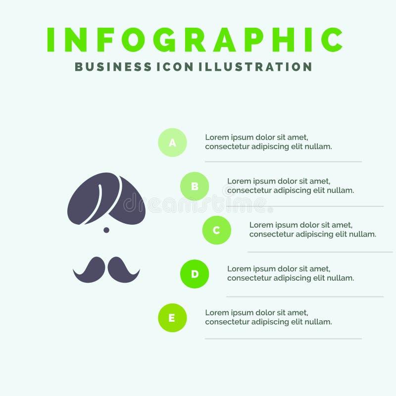 Hinduiskt Indien, indier, man, folk, person, för symbolsInfographics 5 för turban fast bakgrund för presentation moment stock illustrationer