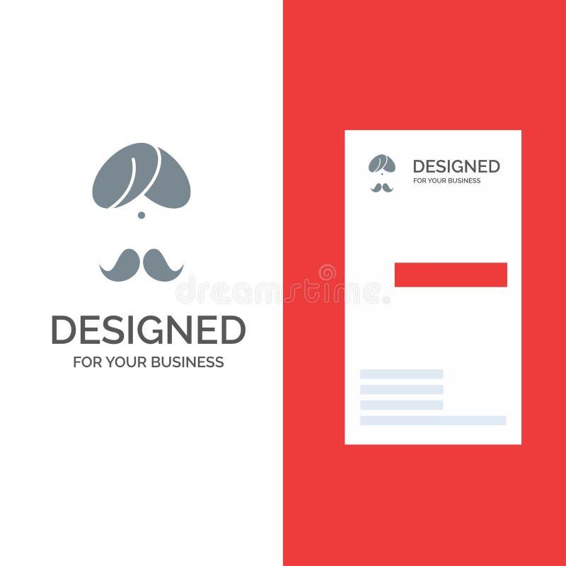 Hinduiskt, Indien, indier, man, folk, person, turban Grey Logo Design och mall för affärskort royaltyfri illustrationer