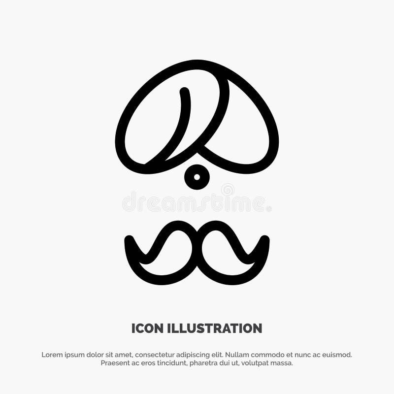 Hinduiskt Indien, indier, man, folk, person, turbanlinje symbolsvektor vektor illustrationer