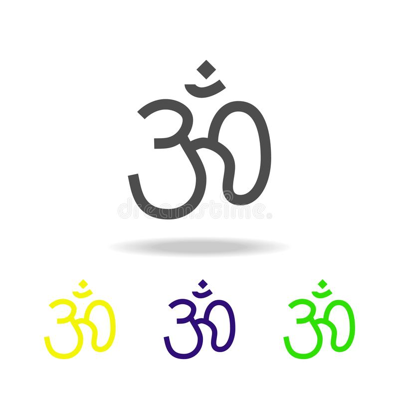 Hinduism Om sign multicolored icon. Detailed Hinduism Om icon can be used for web, logo, mobile app, UI, UX. On white background stock illustration