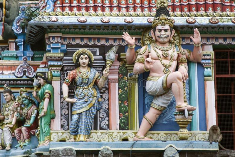 hinduist寺庙雕塑在南印度 免版税库存图片
