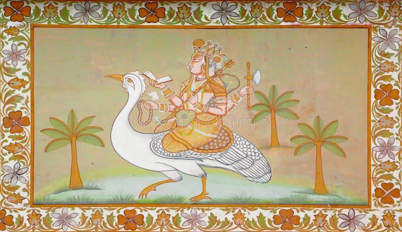 Hinduistgod die een vogel berijden bij het Indische schilderen stock foto
