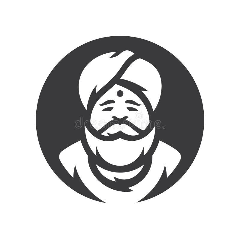 hinduistisch Indien Vektor-Karikaturillustrations-Schattenbildzeichen lizenzfreie abbildung