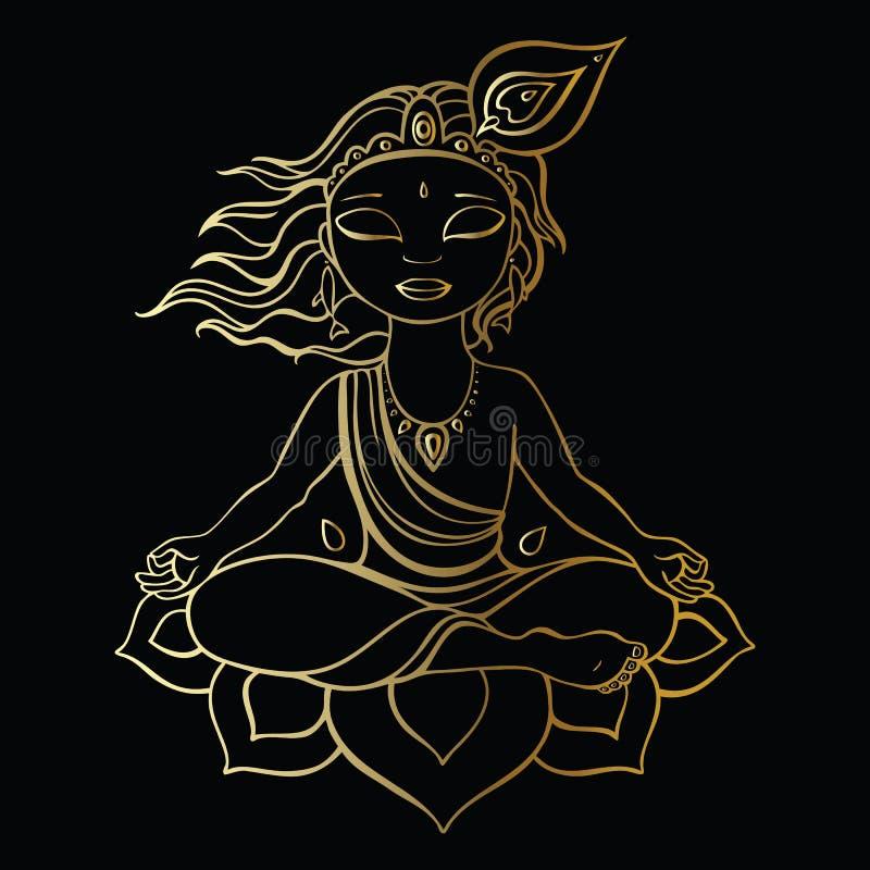 Hinduistischer Gott Krishna lizenzfreie abbildung