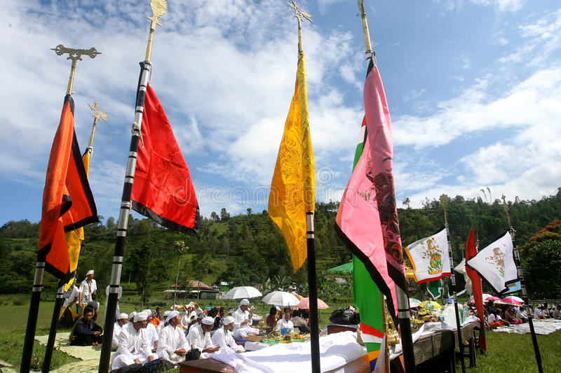 Hindus Celebrates Melasti in Karanganyar, Indonesia. Hindus perform prayer during melasti celebrations in karanganyar, Indonesia. Melasti ceremony held annually royalty free stock photo