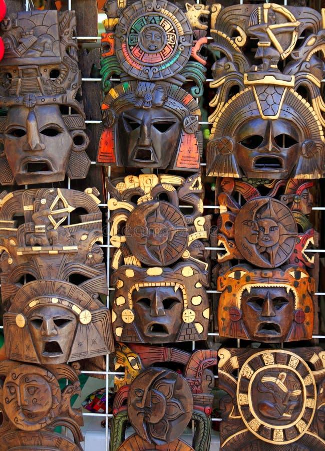 Hindus handcrafts majska drewniana maska handcrafts obrazy stock