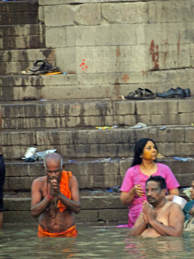 Hindus perform ritual puja stock photo
