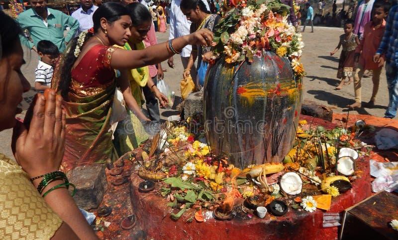 Hindus utför Puja till stenstatyn för lord Shiva, nära templet, i fesival Mahasihvaratri royaltyfria foton