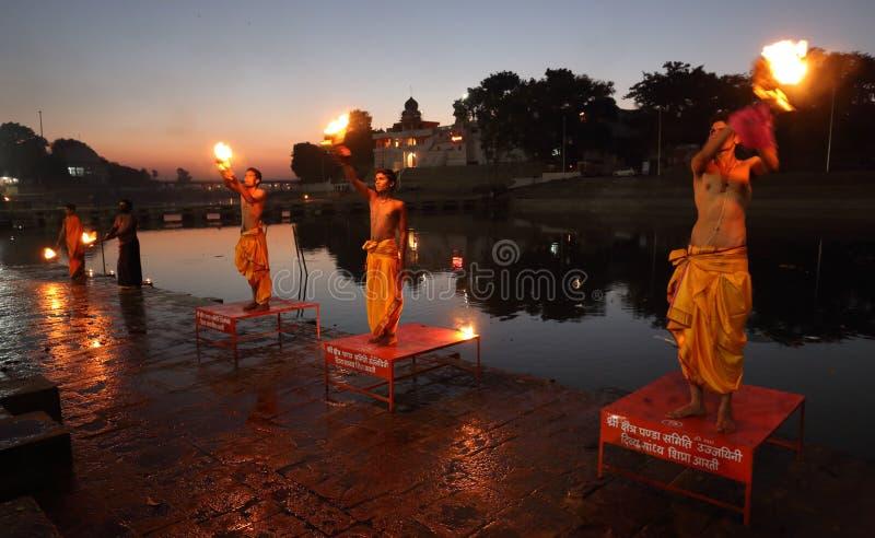 Hinduscy księża w Ujjain, India obrazy royalty free