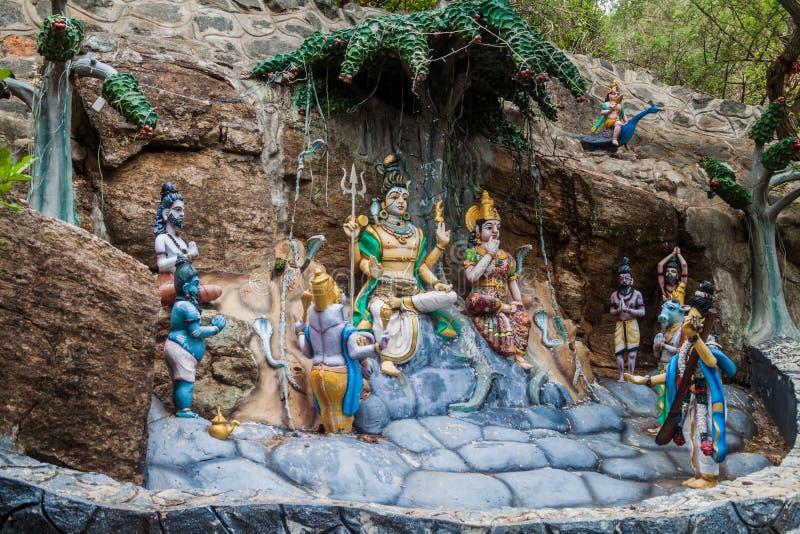 Hinduscy wizerunki przy Kandasamy Koneswaram świątynią w Trincomalee, Sri Lan obraz stock