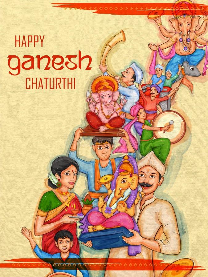 Hindusi świętują tło lorda Ganpatiego podczas indyjskiego festiwalu Ganesh Chaturthi ilustracji
