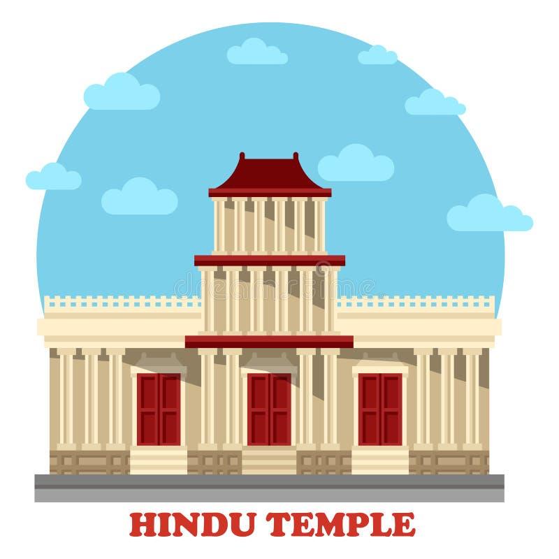 Hinduska świątynia lub mandir fasady zewnętrzny widok ilustracji