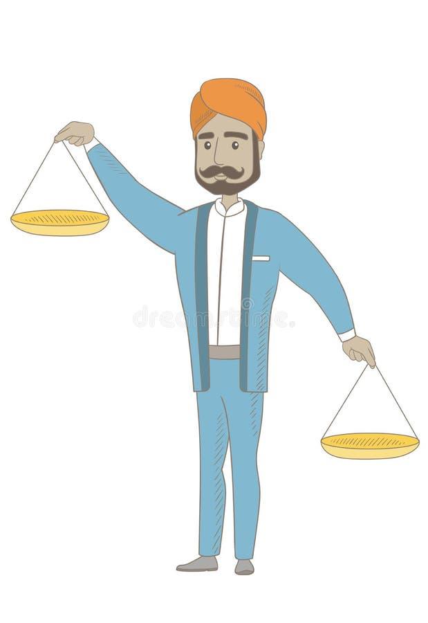 Hinduska biznesmena mienia równowagi skala royalty ilustracja