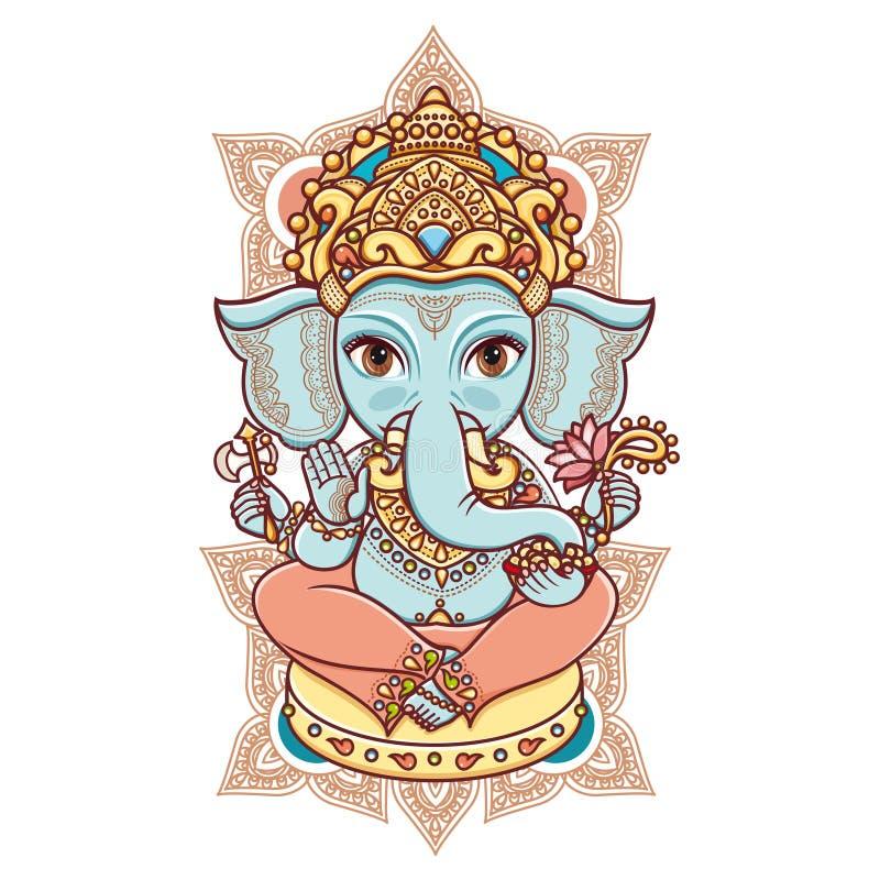 Hinduska słoń głowy bóg władyka Ganesh ilustracji
