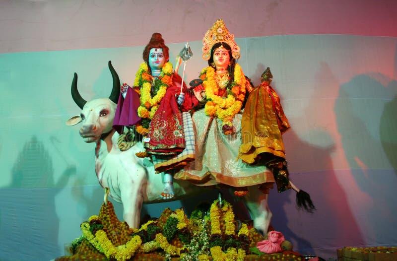 Hinduski bóg Shiva i Durga w pandal podczas Dussera festiwalu świętowania fotografia stock