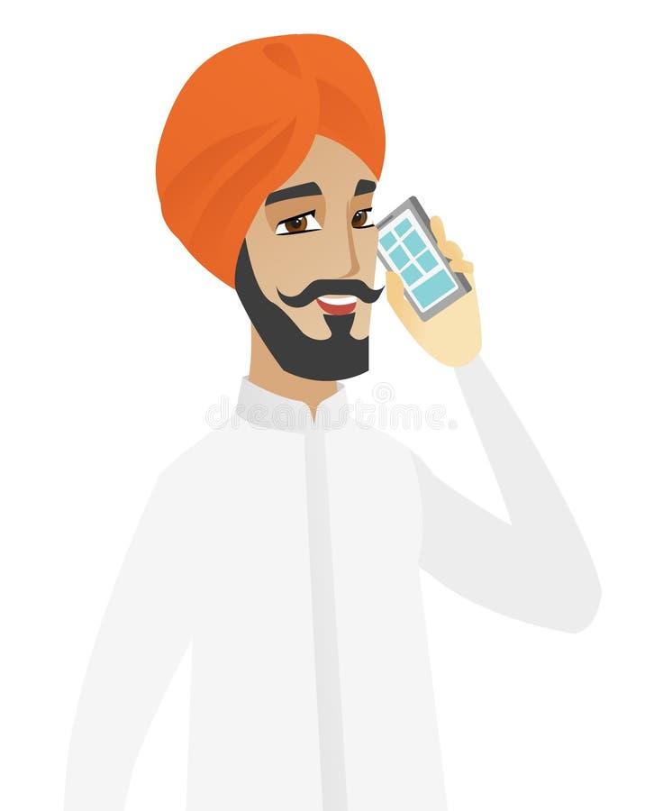 Hinduski biznesmen opowiada na telefonie komórkowym ilustracja wektor