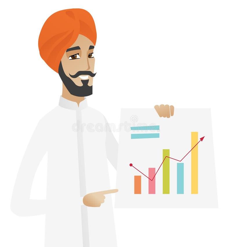 Hinduski biznesmen pokazuje pieniężną mapę ilustracja wektor