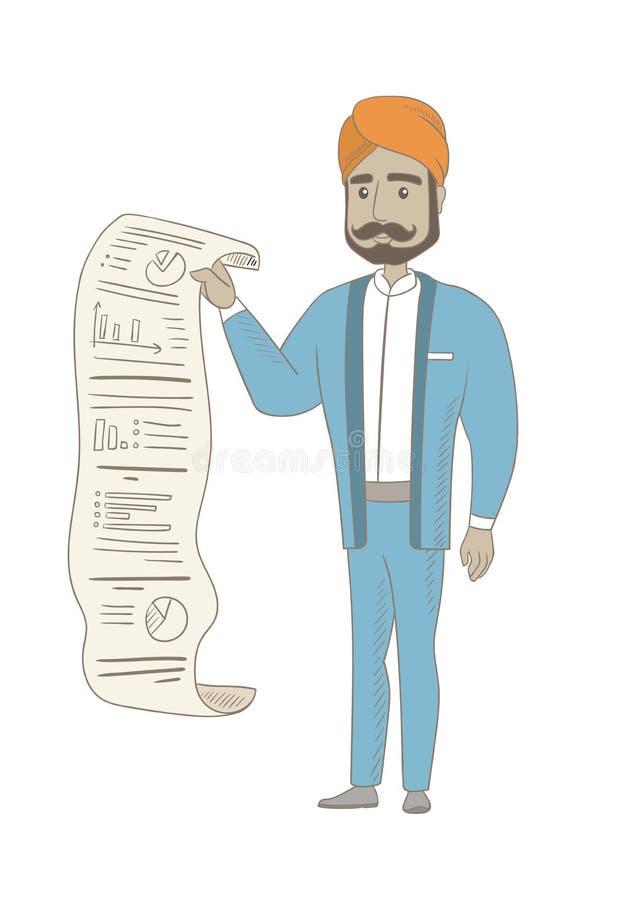 Hinduski biznesmen przedstawia biznesowego raport royalty ilustracja