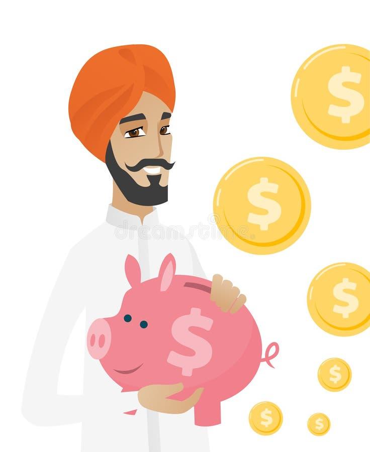 Hinduski biznesmen trzyma prosiątko banka ilustracja wektor