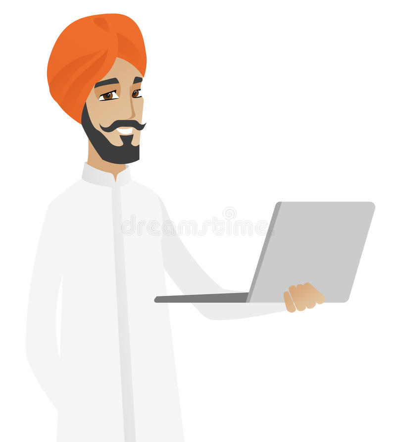 Hinduski biznesmen używa laptop royalty ilustracja