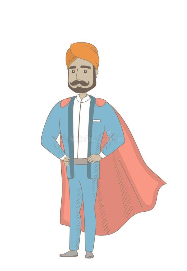 Hinduski biznesmen ubierający jako bohater royalty ilustracja