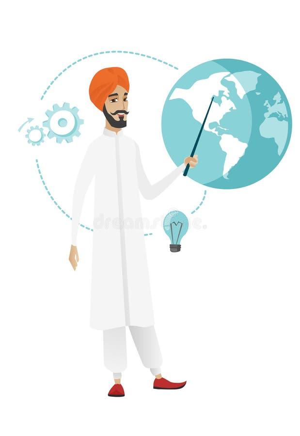 Hinduski biznesmen wskazuje przy kulą ziemską ilustracja wektor