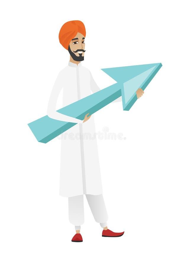Hinduski biznesmen z wzrostowym wykresem ilustracja wektor