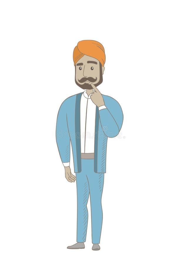 Hinduski biznesmena główkowanie z palcem na podbródku royalty ilustracja