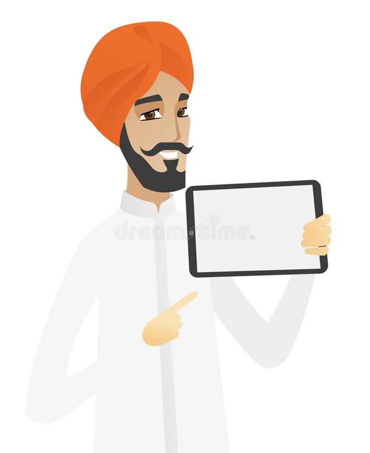 Hinduski biznesmena mienia pastylki komputer royalty ilustracja
