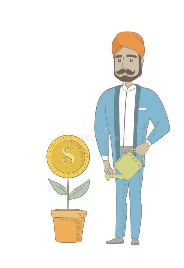 Hinduski biznesmena podlewania pieniądze kwiat ilustracji
