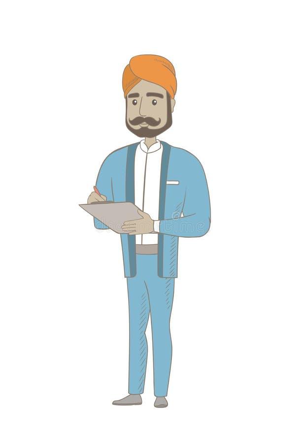 Hinduski biznesmena writing na schowku ilustracja wektor