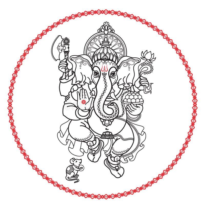 hinduski boga ganesha Ręka rysujący plemienny styl wektor ilustracji