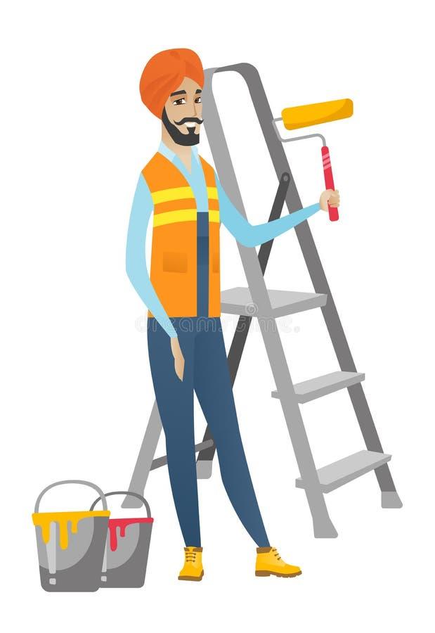 Hinduski domowego malarza mienia farby rolownik ilustracja wektor