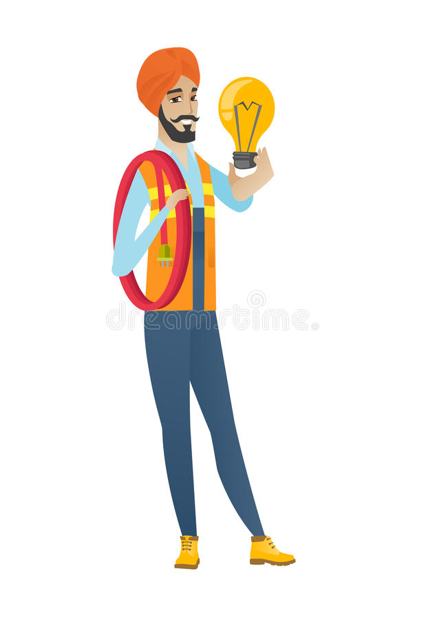 Hinduski elektryk trzyma jaskrawą żarówkę ilustracji