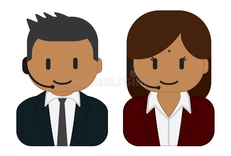 Hinduski obsługa klienta mężczyzna, kobieta jest ubranym słuchawki i ilustracja wektor