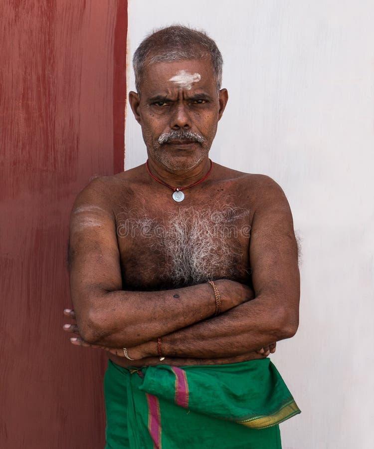 Hinduski przywódca grupy religijnej w Nallur Kandaswamy świątyni, sri lanka zdjęcia royalty free
