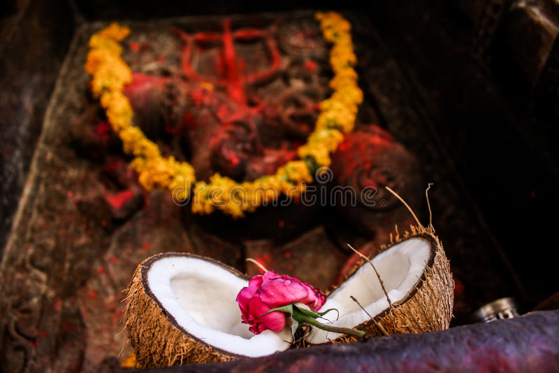 Hinduski rytuałów oferować zdjęcie stock