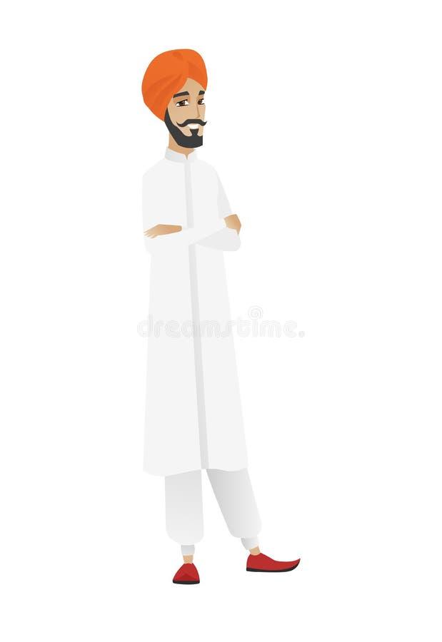 Hinduski ufny biznesmen z fałdowymi rękami ilustracja wektor