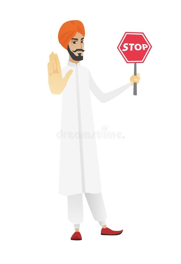 Hinduskiej biznesmena mienia przerwy drogowy znak ilustracja wektor