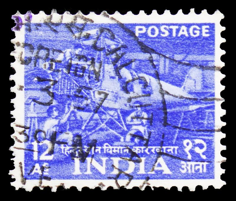 Hindustan aircraft factory, Five Year Plan - 1st Issue (1955-58) serie, circa 1955. MOSCOW, RUSSIA - FEBRUARY 20, 2019: A stamp printed in India shows Hindustan royalty free stock photos