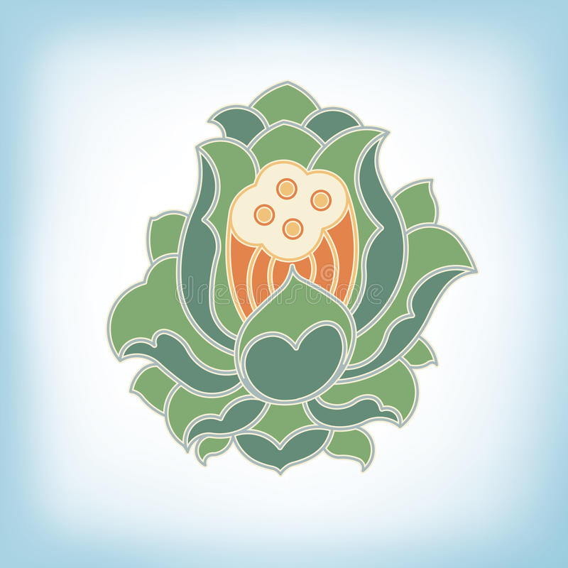 Hinese virtual po-phase flowers vector illustration